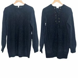 Lovers + Friends Lace-Up Tunic Sweater Blue Size S